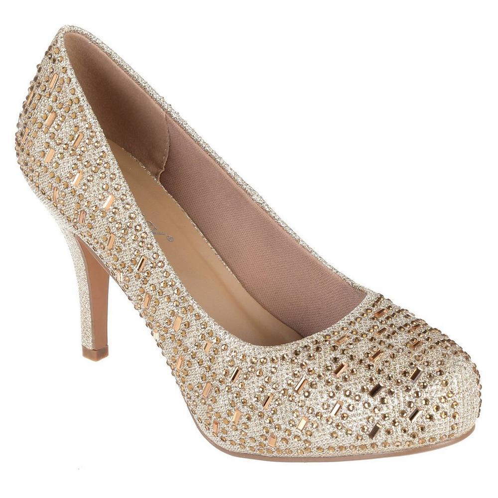 c98b2ae42b3 Riley Jeweled Heels - Champagne