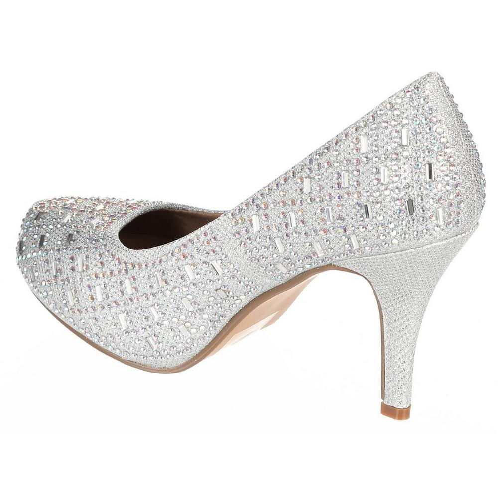 a3b3560e085 ... Riley Jeweled Heels - Silver. Click to zoom