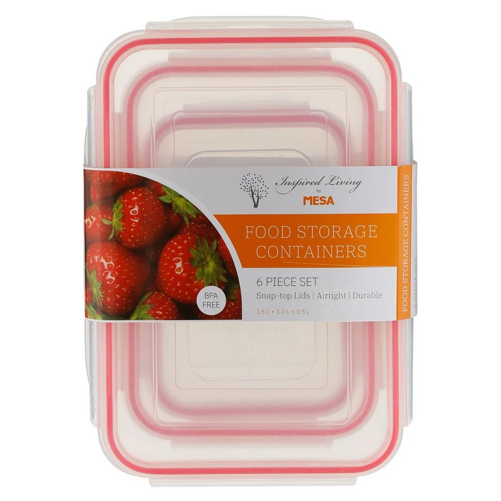 6 Pc Food Storage Containers - Red