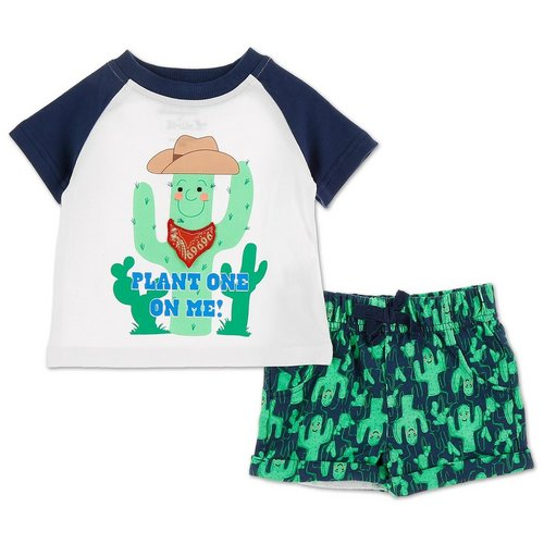 211b3e40d3 Boys 2 Pc Cactus Shorts Set - White Multi (0-12M)