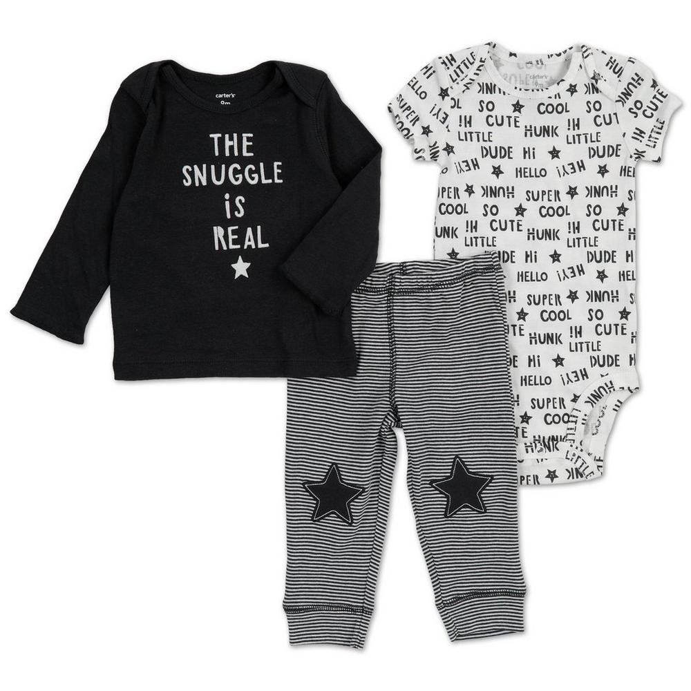 ca62c0f7b Boys Snuggle 3 Pc Set - B&W (3M-12M) | Burkes Outlet