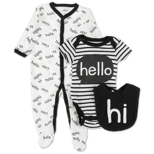 8117cbef2b21 Boys Hello 3 Pc Creeper Set - Black White (0-12M)