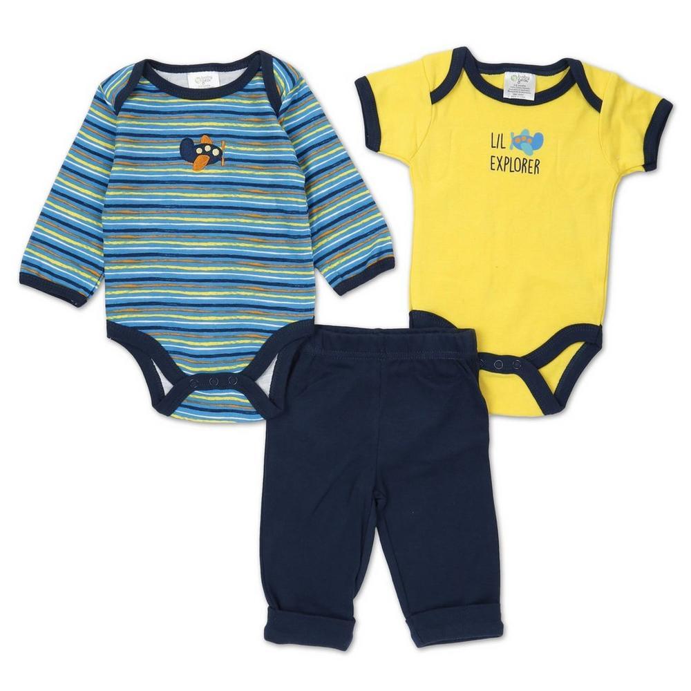 Boys' 3 Pc Airplane Creeper & Pants Set - Blue Multi (0-9 Mos)