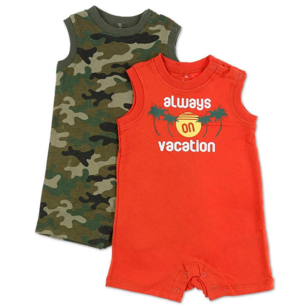 957163ccf Boys On Vacation 2 Pk Sleeveless Rompers - Multi (0-12M)