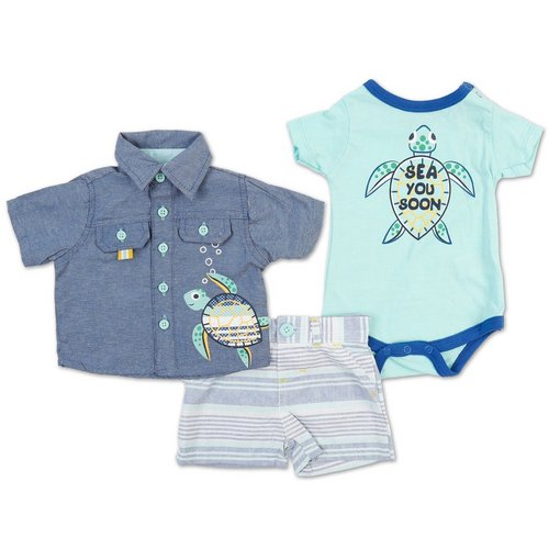 edaf1c68151f Boys 3 Pc Sea Turtle Short Set - Teal (0-9m)
