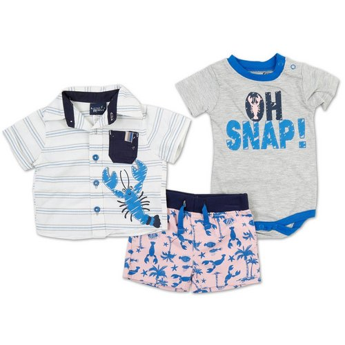 e53a8ce03363 Boys 3 Pc Tropical Fish Short Set - Pink (0-9M)