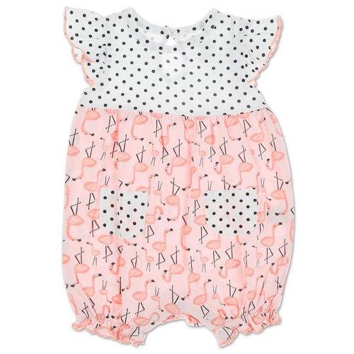 875629ee12 Girls Flamingo   Dot Romper - Pink ...