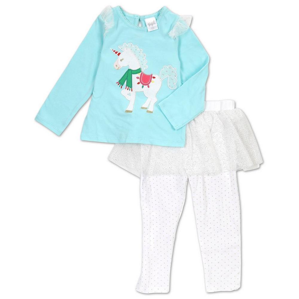 3a6e9bec6b283 Girls 2 Pc Unicorn   Lace Tutu Leggings Set - Multi
