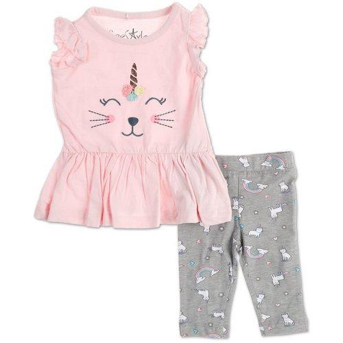 7f15e6dc9f8f Girls Kittycorn 2 Pc Leggings Set - Pink (12-24M)