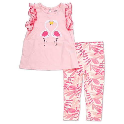ce2ae40d865 Girls 2 Pc Flamingo Legging Set - Pink (12-24M)