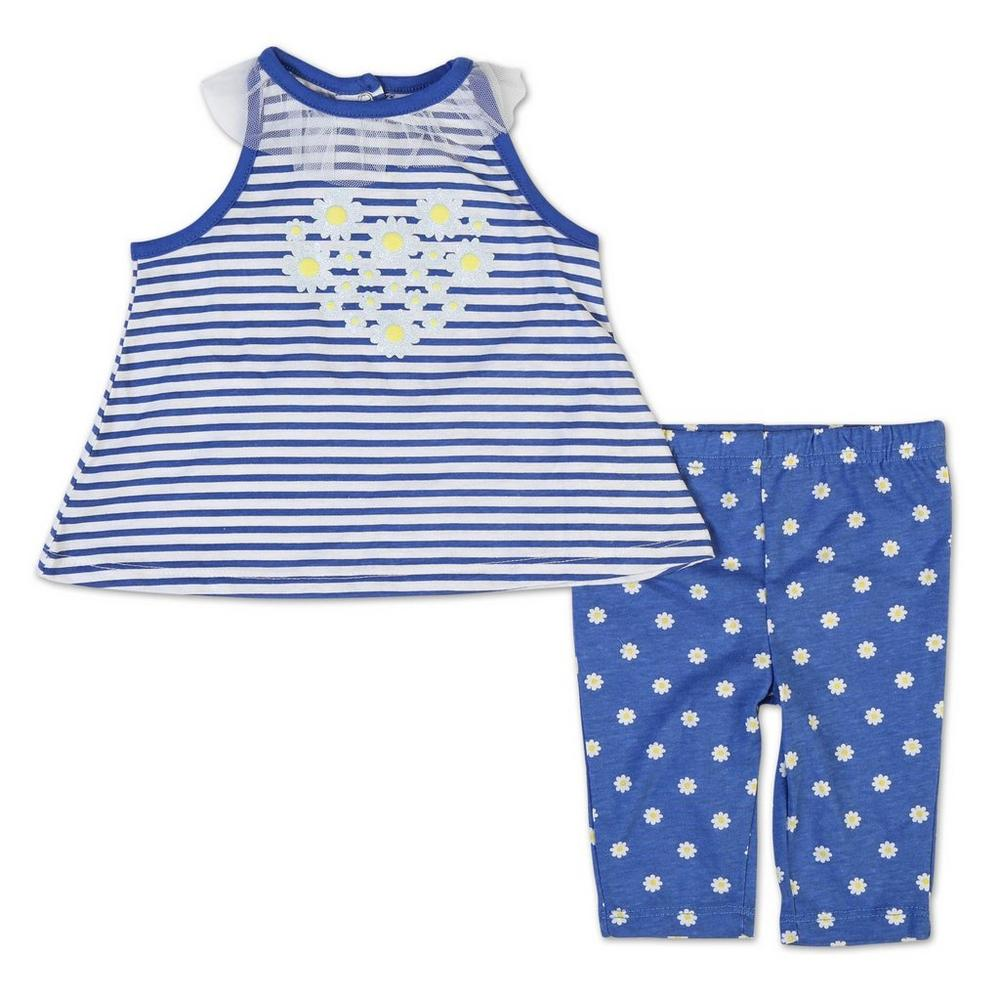 e27cfda456a Girls  2 Pc Daisy Stripe Outfit - Blue (12-24 Mos)
