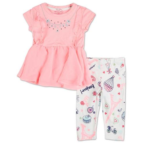Youngland Girls Tunic Legging and Necklace Outfit