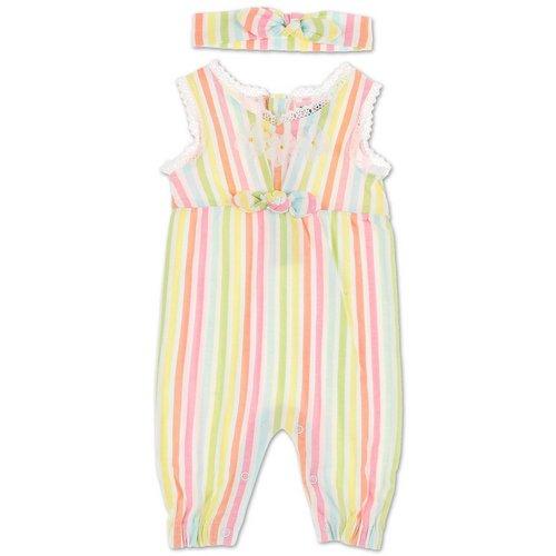 08f4e817b1 Girls Stripe   Flower Jumpsuit w  Headband - Multi ...