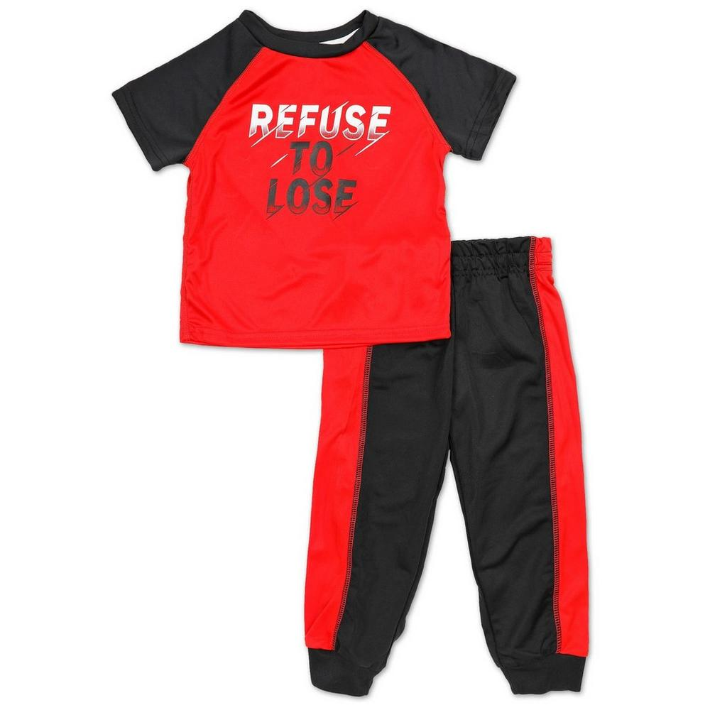 Boys 2 Pc Refuse To Lose Graphic Joggers Set Red 2 4t