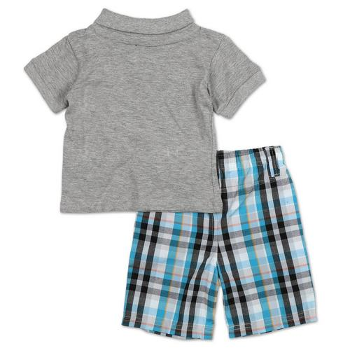 Beverly Hills Polo Club Infant Boys Striped Polo 2pc Short Set Size 18M