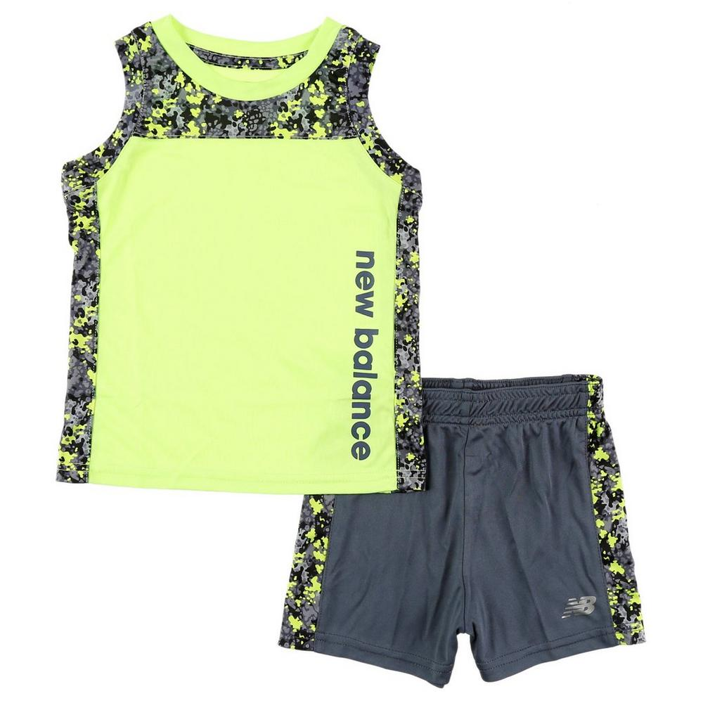 b6531f3a063bb8 Boys Active Color Block Tank   Shorts Set - Lime (2-5T)