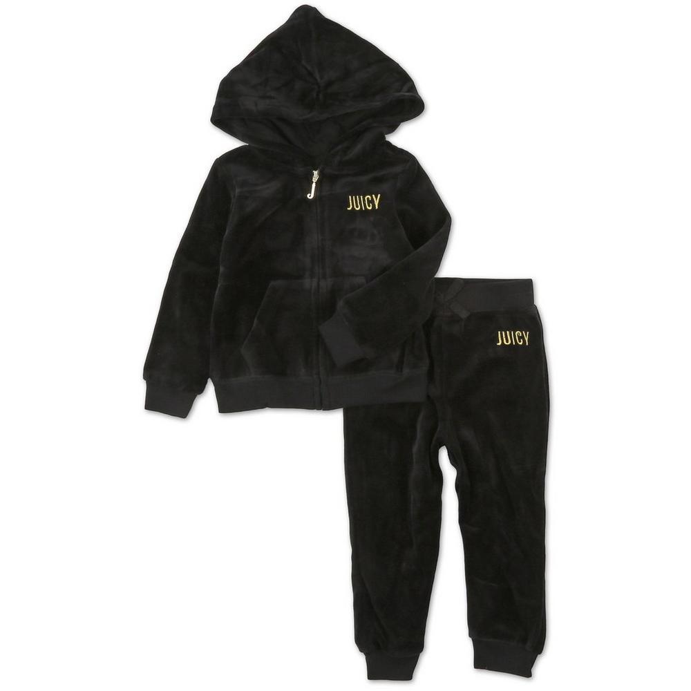 32a581938 Girls Velour 2 Pc Jacket Pant Set - Black (2T-5T)