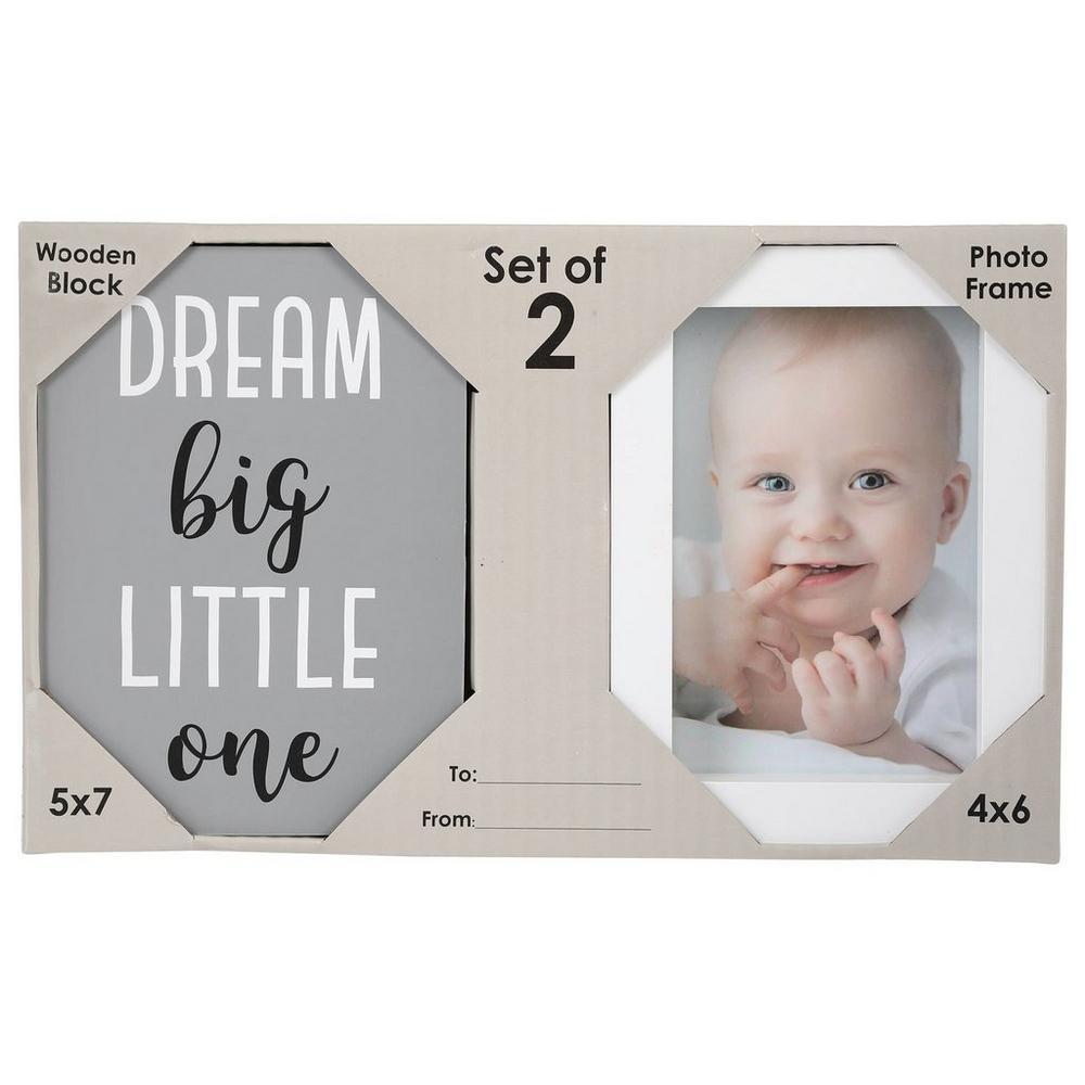 Dream Big Wooden Block & Picture Frame Set - Grey/White