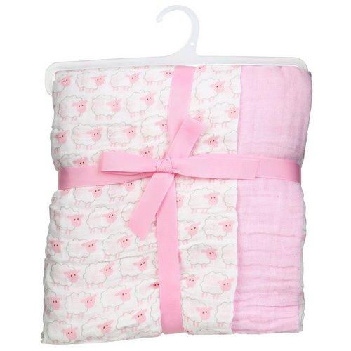 da0e2fdce 2 Pk Sheep Muslin Swaddle Blankets - Pink