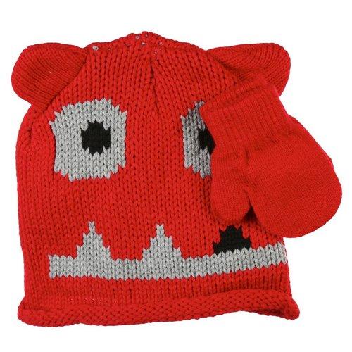 Boys Monster Knit Hat   Mittens Set - Red 0d4a281b8e4c