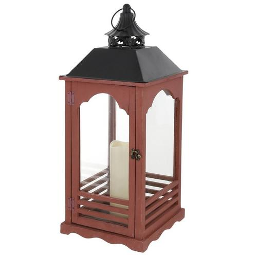 25 Decorative Lantern W Led Candle Red