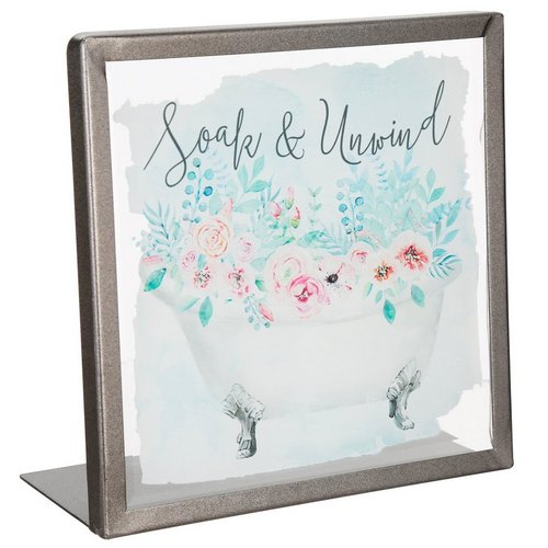 6 Soak Unwind Glass Table Sign