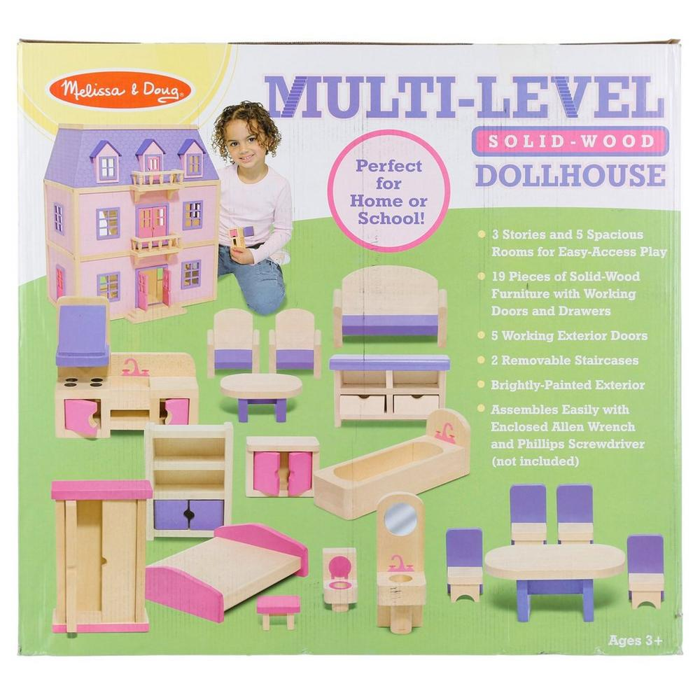 Multi Level Wooden Dollhouse Pink