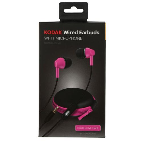 Kodak Wired Earbuds With Microphone Pink Burkes Outlet