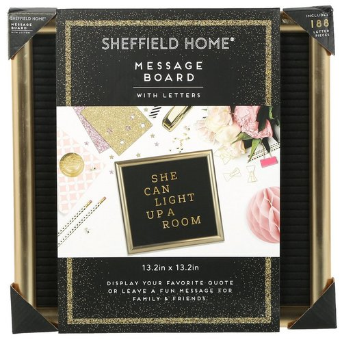 13x13 Felt Message Board w/ Letters - Gold